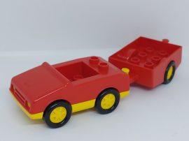 Lego Duplo autó (piros) + utánfutó