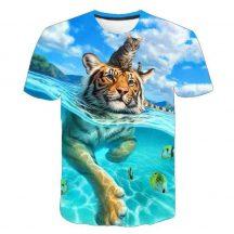 Gyerek 3D póló Tigris 120 méret cicás póló macskás póló