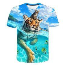 Gyerek 3D póló Tigris 130 méret cicás póló macskás póló